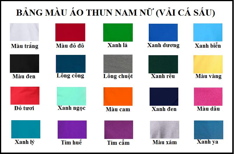 bảng màu áo thun cá sấu nam nữ vnxk | song gia shop
